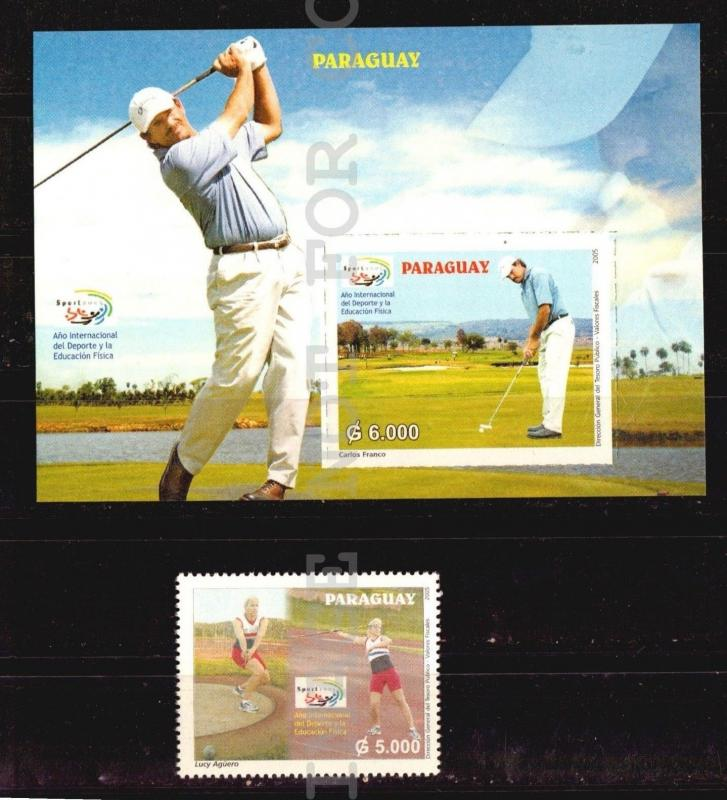 PARAGUAY GOLF Yvert # 2942 + Bl 5 intl year of sport javelin hammer through MNH