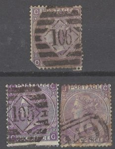 COLLECTION LOT # 2149 GREAT BRITAIN #51a (3 STAMPS) 1867 CV+$405(1st ROW FAULTY)