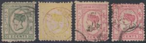 BC LABUAN 1879-82 QV Sc 1-3 & 7 UNWATERMARKED FORGERIES USED (CV$2,175)