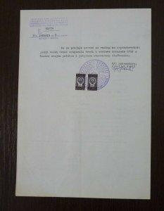 Yugoslavia 1979 Consular Revenue Stamps Used on Document B19