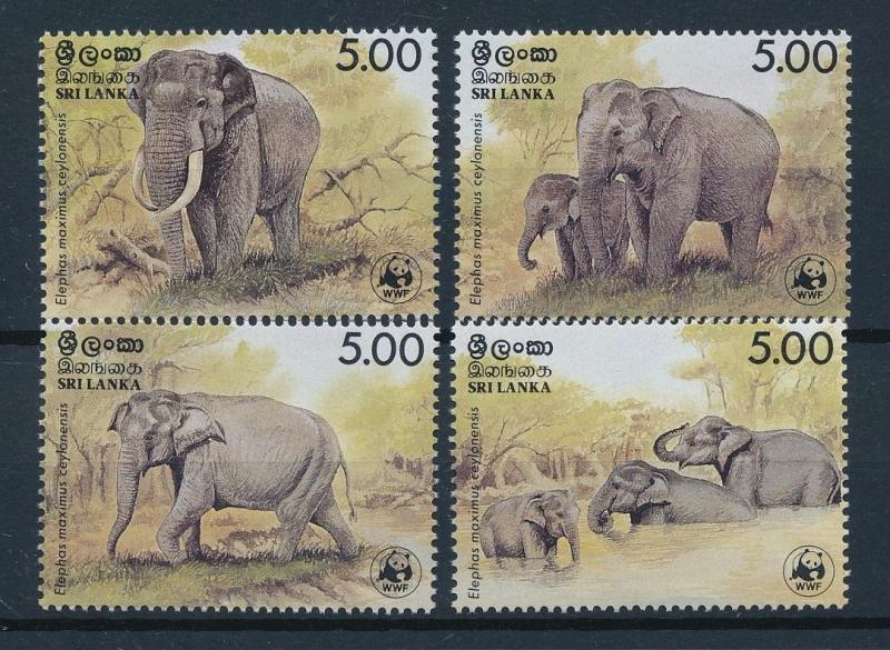 [54049] Sri Lanka 1986 Wild animals Mammals WWF Elephants MNH