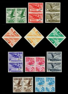 Liberia #C4-C13 Imperforate Proof Pairs w/ trial color; MNH (5Stars)