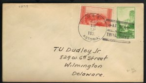 USS ASTORIA CA-34 1935 NAVAL COVER w PARK STAMPS TIED w AT SEA TRIAL RUNS Cd.