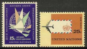 United Nations, New York Air Mail 1964 Scott# C11-C12 MNH