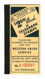SCOTT #16T99-16T103 WESTERN UNION INTACT BOOKLET OF 7 PANES OF TELEGRAPH STAMPS