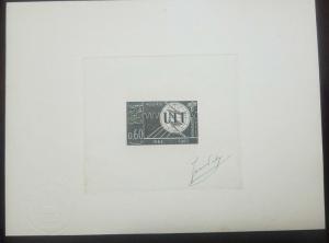 O) 1965 ALGERIA, DIE PROOF, CENT,  OF THE ITU-EMBLEM-SCOTT A79, XF