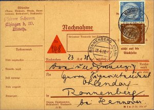 Germany 1938 cash on delivery card Nachnahme 23pf rate Ehingen toStamp on Card
