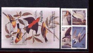 003502 ANGUILLA Adubon birds set+S/S 1985 MNH