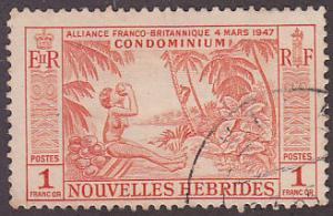 New Hebrides Fr 106 Hinged Used 1957 Woman Drinking From Coconut