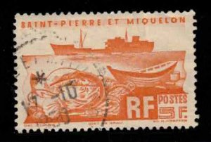 ST PIERRE & MIQUELON Scott # 337 Used 3 - Fishing Trawler & Fish