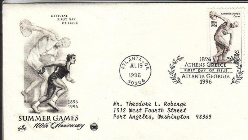 1996, 100th Anniv. Summer Games, Artcraft/PCS, FDC (D15589)