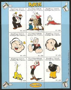 Comoro Islands 832L-W 1998 Popeye m/s and s.s. NH