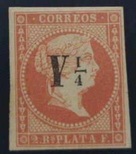 O) 1860, SPANISH ANTILLES, QUEEN ISABELLA II -SC 15a Y  1/4r p on 2r p in black