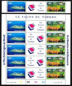 1994 New Caledonia sheet of 10 & singles MNH European Stamp Show