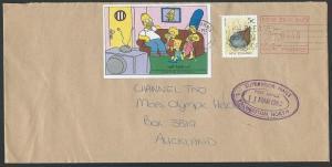 NEW ZEALAND 1992 cover, SIMPSONS cinderella tied Gisborne pmk..............13269