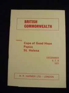 H R HARMER AUCTION CATALOGUE 1971 CAPE OF GOOD HOPE PAPUA ST HELENA