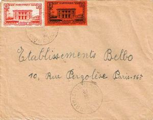 Martinique 15c and 50c Government Palace 1938 Morne Vert, Martinique to Paris...