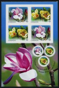 Canada 2625a Booklet Pane MNH Flowers, Magnolias