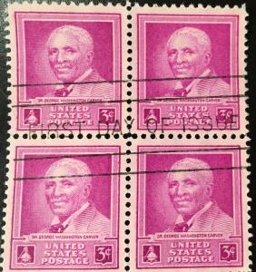 953 Dr. George Washington Carver, First Day of Issue block, Vic's Stamp Stash