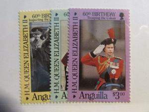 ANGUILLA Scott #674 675 676 ** MNH , H.M. Queen Elizabeth  , fine + 102 card