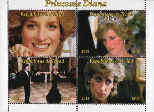 Chad 2014 Princess Diana Royal Family 4v Mint Souvenir Sheet S/S. (#123)