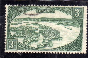 BRUNEI 1947 1951 DWELLINGS IN TOWN OF BRUNEI CENT. 3c USED USATO OBLITERE'
