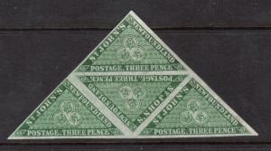 Newfoundland #11a VF Mint Triangular Block **With Certificate**