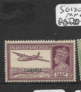 INDIA CHAMBA (P2809B) KGVI   14A AIRPLANE  SG 120  MNH