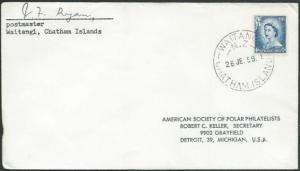 NEW ZEALAND 1959 cover WAITANGI / CHATHAM ISLANDS cds Postmaster signed....59411