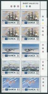 SAMOA 1986 Ameripex set in plate blocks of 4 MNH...........................41439