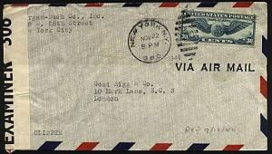 USA 1940 30c airmail on censor cover New York to London....................18536