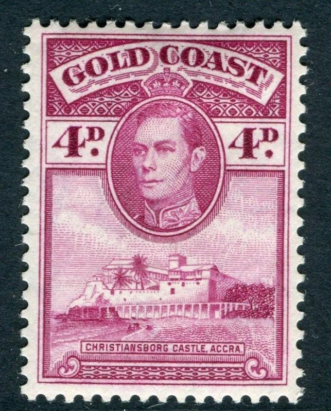 GOLD COAST;  1938 early GVI issue fine Mint hinged 4d. value