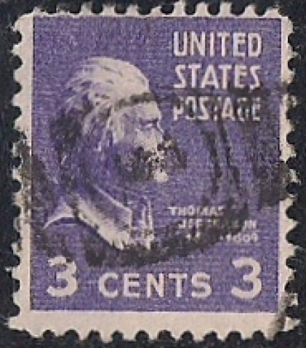 807 3 Cent FANCY CANCEL Thomas Jefferson Stamp Used AVG