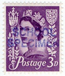 (I.B) Elizabeth II Postal : School Specimen Overprint 3d (Jersey)