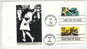 50th Anniv WW2 DUAL FDC 1992/1995 Patriotic Famous Kiss At Times Square + Hawaii