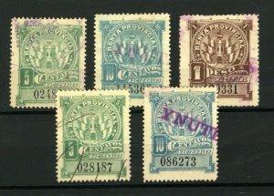 Cordoba 1898 Range of Documentary Revenues Renta Provincial with Controls (5v)
