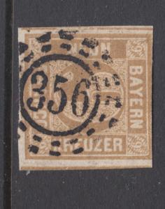 Bavaria Sc 12 used. 1862 9kr bister Numeral, 356 open Millwheel cancel, sound