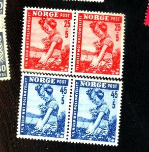 NORWAY B48-9 (2) MINT PAIRS FVF OG NH Cat $23