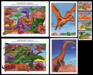 Ghana 1999 dinosaurs prehistoric animals set+2klb+2s/s MNH
