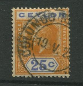 Ceylon #238  Used  1921  Single 25c Stamp