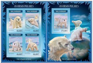 MOZAMBIQUE 2014 2 SHEETS m14213ab POLAR BEARS OURS WILDLIFE