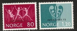Norway  594-95 MNH 1972 INTERJUNEX Youth Philatelic Exhib.