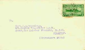 Indian States Travancore 1ch Lake Ashtamudi c1944 Alleppey A.O. T.A.D. Local ...