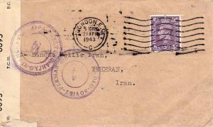 Great Britain 3d KGVI 1943 London E.C. to Tehran, Iran.  Great Britain and Ir...