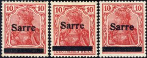 SARRE / SAARGEBIET - 1920 3xMi.6.I 10pf O/P type 1 - Mint* & (*)