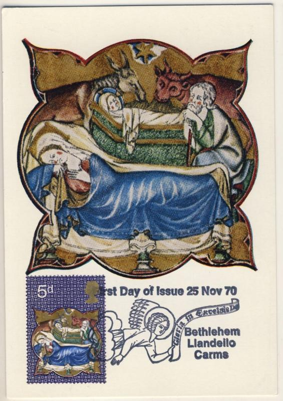 GB - 1970 SG 839 on BETHLEEM, LLANDEILO, Carms FDC MAX. CARD 5d Christmas Issue