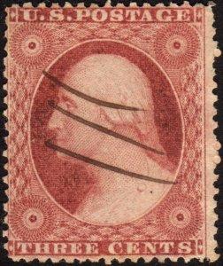 1857, US 3c, George Washington, Used, Sc 26