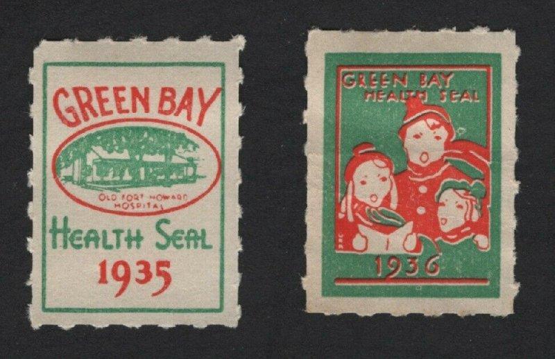 United States MINT 2 1935-36  GREEN BAY HEALTH SEALS  MH -  BARNEYS
