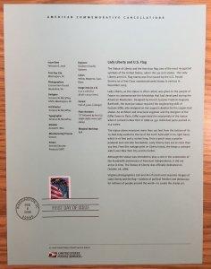 US #SP1584a / 3980 Lady Liberty and U.S. Flag (02/08/06) - Souvenir Sheet / Page