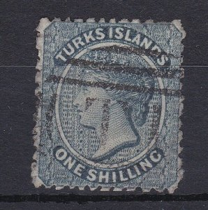 BC219) Turks & Caicos Islands 1867 QV 1/- Dull blue SG 3, nibbled perf at top